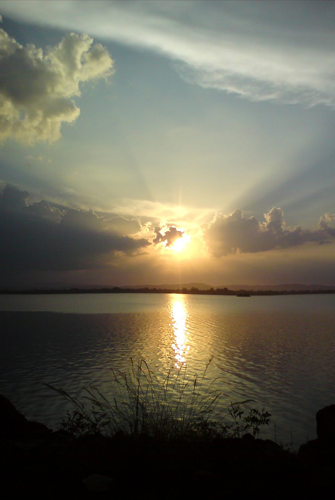 Sun set at Parakrama Samudraya